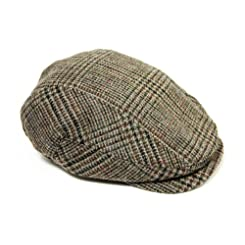 Mucros Irish Flat Cap-100% Wool with Quilted Lining-Brown Large