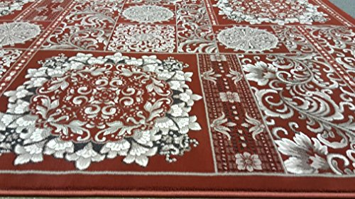 Dark Rust Sepia Gray Silver Color 8'x10' Persian Classic Remote Traditional Flower Design Hand Carved Thick Pile High Density Carpet Area Rug Floor Mat Livingroom Bedroom 5050