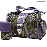 Western Belt Buckle Concealed Carry Gun Weapon Handbag Purse Camo Camouflage Cell Phone Cover Free Bracelet (Purple)