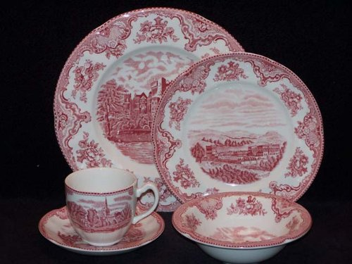 Christmas Tablescape Décor - Johnson Brothers Old Britain Castles pink/red 20-piece dinnerware starter set - Service for 4