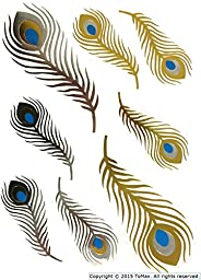 Feather Design Metallic Gold Silver Bling Temporary Tattoos (Peacock)