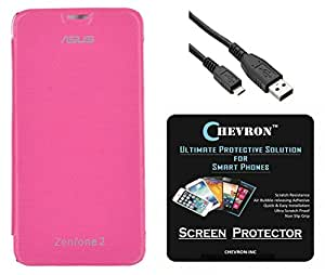 Chevron Flip Cover Case with Chevron HD Screen Guard & Data Cable for Asus Zenfone 2 ZE550ML