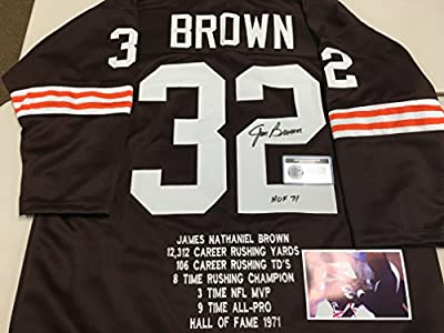Jim Brown Autographed Signed Custom Cleveland Browns Rare Stat Jersey COA & Hologram