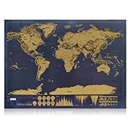 JideTech 1Piece Deluxe Scratch Map Personalized World Travel Map Mini Scratch Off Coating Poster 42 x 29.7 cm
