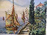 Gorgeous Vintage Original Oil Painting Signed Rene Mediterranean Land Seascape