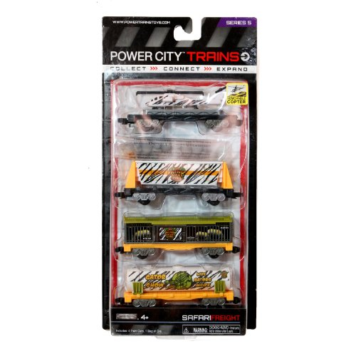 "Jakks Pacific Year 2013 Power City Trains Series 4 Pack Train Accessory Set - King Safari Park SAFARI FREIGHT with Flatbed Trailer with Removable Helicopter, Freight Car with Removable ""Rocks"", Cage Car and Gator Tanker - 1"