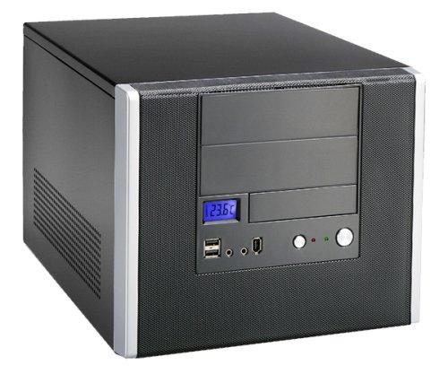 Max In Power Boitier Cube en ALU Micro Atx, 480Watts 20/24pins, 2 x 5.25'' et 2 x 3.5'', USB2.0 + Audio + FW1394, couleur noire