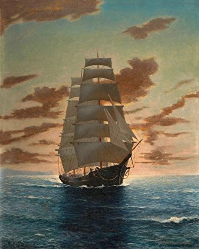 High Quality Polyster Canvas ,the Reproductions Art Decorative Prints On Canvas Of Oil Painting 'Seascape Of A Sailing Boat At Dusk', 10x13 Inch / 25x32 Cm Is Best For Kitchen Gallery Art And Home Artwork And Gifts