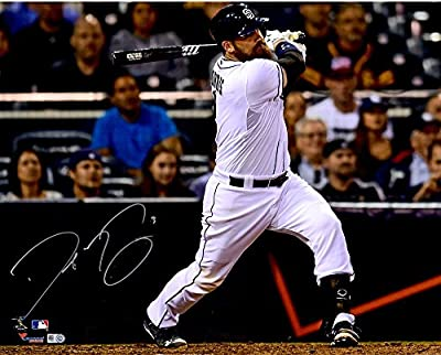 "Derek Norris San Diego Padres Autographed 16"" x 20"" White Hitting Photograph - Fanatics Authentic Certified"
