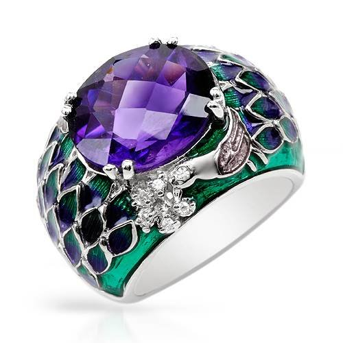 Sterling Silver 7.5 CTW Amethyst and 0.12 CTW Cubic Zirconia Ladies Ring. Ring Size 7. Total Item weight 14.1 g.