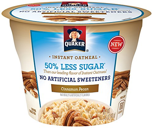 Quaker Instant Oatmeal Express Cups 50% Less Sugar, Cinnamon Pecan, 1.41 Ounce (Pack of 12) (Single Serve Steel Cut Oats compare prices)