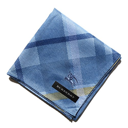 バーバリー チェックハンカチ ブルー系 メンズ d-000082