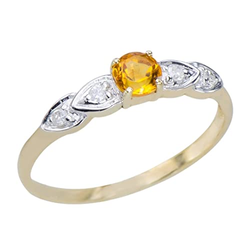 GemsLovers 9K Yellow Gold Genuine Yellow Citrine Womens Ring - November Birthstone