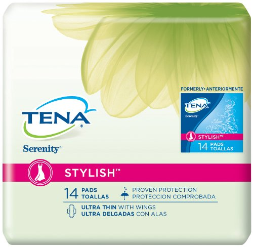 Tena Serenity Stylish Ultra Thin Pads with Wings, 14ct, (Pack of 2)