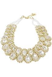 ShoppeWatch Ladies Choker Necklace Gold Tone Fashion Statement Big Transparent Crystals
