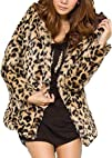 Casual Winter Thick Fur Leopard Print Hooded Long Slim Coat
