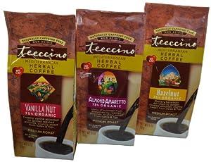 Teeccino Mediterranean Herbal Coffee Variety Pack of 3