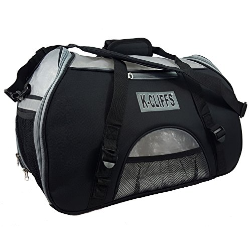 Soft Sided Pet Carrier Heavy Duty Dog Cat Comfort Carrier Travel Tote Bag Kennel with Fleece Bed Small to Medium Size Black