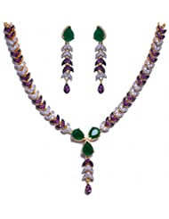 Emerald Pear & Tourmaline Color Stone Studded Necklace & Earrings Set