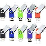 10 Pièce Clé USB 4 Go Mémoire Flash Rotation Disque USB 2.0 (Couleur Mixte: Rouge Vert Noir Bleu et Violet)