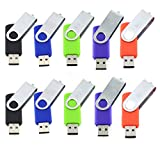 10pcs 4GB Swivel Design USB 2.0 Flash Drive Memory Stick (5 Mixed Colors: Black Blue Green Purple Red)