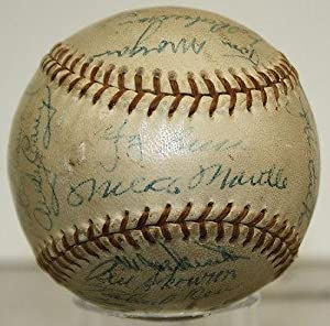 1956 Yankees Mantle Rizzuto Berra Ford Signed Team Baseball Yankees Y08476 - JSA... by Sports Memorabilia