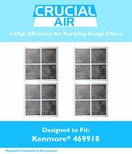 4 Kenmore Elite 9918 Air Purifying Fridge Filters, Part # 469918 & 04609918000, Designed & Engineered by Crucial Air