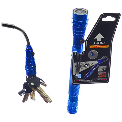 Extendable/Telescoping 3 Led Work Light Flashlight And Magnetic Pickup Tool With Flexible Neck - Blue