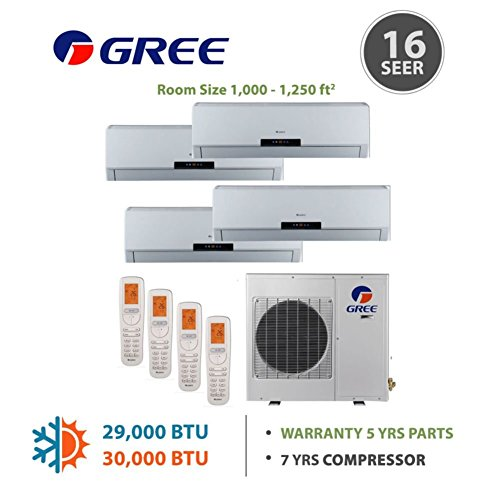 Gree MULTI30BNEO401 - 30,000 BTU +Multi Quad-Zone Wall Mounted Mini Split Air Conditioner with Heat Pump 220V (9-9-9-12) (Multi Zone Gree Mini Split compare prices)