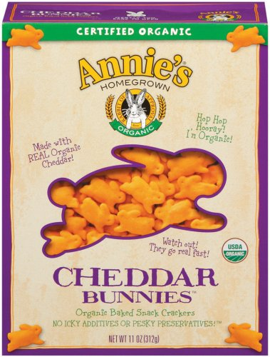 Annie's Homegrown Organic Cheddar Bunnies,  Family Size , 11 Ounce Boxes (Pack of 4)