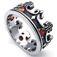 buy Konov Mens Cubic Zirconia Stainless Steel Ring, Vintage Crown, Red Black Silver, Size 12