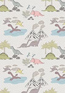 Grey dinosaur volcano children 39 s fabric jurassic coast for Grey dinosaur fabric