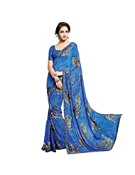 Ethnic Station Blue Lace Work Saree - B00QYJUHTK