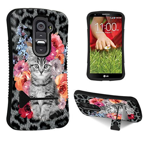 Durocase ® Lg G2 D800 / D801 / Ls980 / Vs980 Kickstand Case - (Rose Cat)
