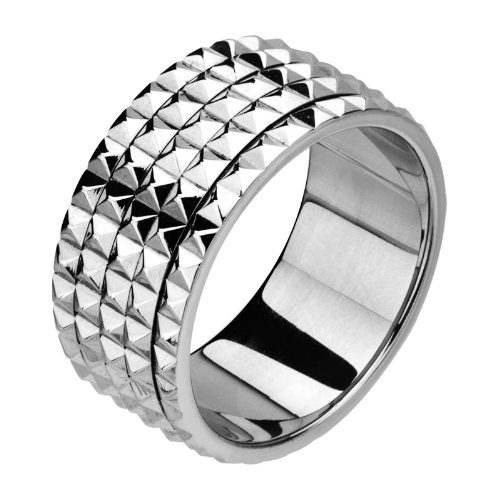 Size 10 -Inox Jewelry Stainless Steel Spinner Pyramid Stud Ring