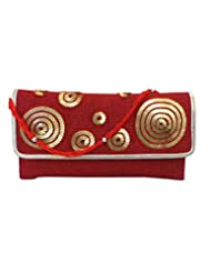 Bhamini Jute Clutch With Sequin Circles On Flap (Maroon)