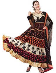 Exotic India Black and Ivory Wedding Anarkali Suit with Floral Embroider - Black