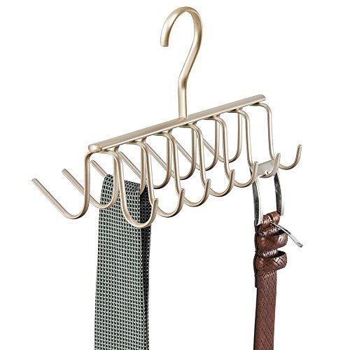 mDesign Organizzatore Armadio per Cravatte, Cinture - Champagne Perlato