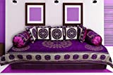 ARMAANI PURPLE CHENILLE REVERSIBLE DIWAN SET (1 Diwan Sheet-54inch * 90 inch+5 Cushion Cover-16*16+2 Bolster Cover-16*40)