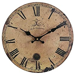 Eruner 12-inch Vintage Wood Wall Clock - France Paris *Cafe des Marguerites* Country Retro Style Non-Ticking Silent Wooden Wall Clock (#09, 12)
