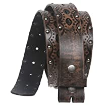 Big Tall Oversized Snap on Perforated Studded Vintage Embossed Bonded Leather Belt Strap Size: XXL - 47 Color: Brown