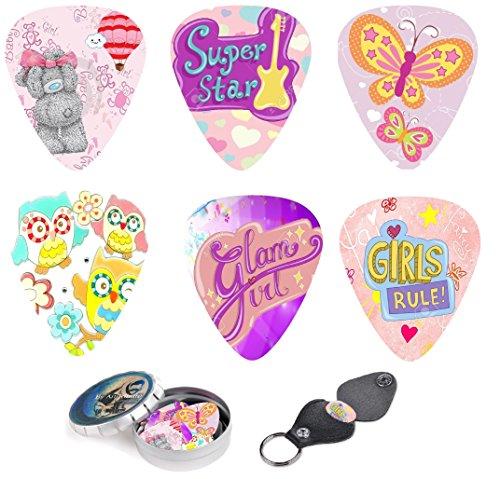 Girly Guitar Picks Premium Gift Set For Daughter, Girls & Kids. 12 Medium Celluloid Picks Complete W/ Sleek Tin Box & Pick Holder, Colorful Designs Best Holidays Present (Girly Guitar Pics compare prices)