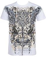 Sakkas Epée et Griffon En relief argent métallique Manches courtes Col rond Coton T-Shirt Fashion homme