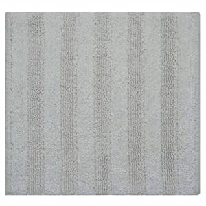 Homescapes Handloomed White Square Solid Striped Rug, 100% Cotton Bath Mat Suitable for all Rooms and Wet Rooms from Homescapes