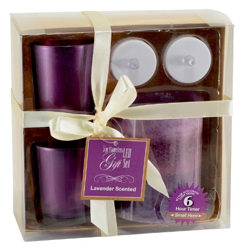 Flameless Led 5 Piece Pillar Candle Gift Set (Lavender)