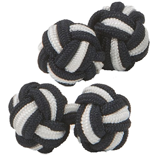 Black & White Silk Knot Cufflinks