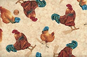 Quilting Treasures 'Bershire Farm' Scattered Chickens on Ecru Cotton Fabric - 1yd 22in