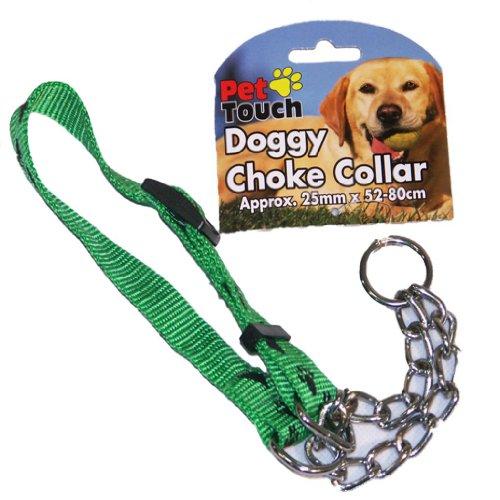 green-dog-check-chain-half-choke-choker-collar-puppy-adjustable-strong-nylon-training