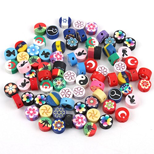 LQZ(TM) 50Pcs Assorted Colorsr Round Fimo Polymer Clay Beads