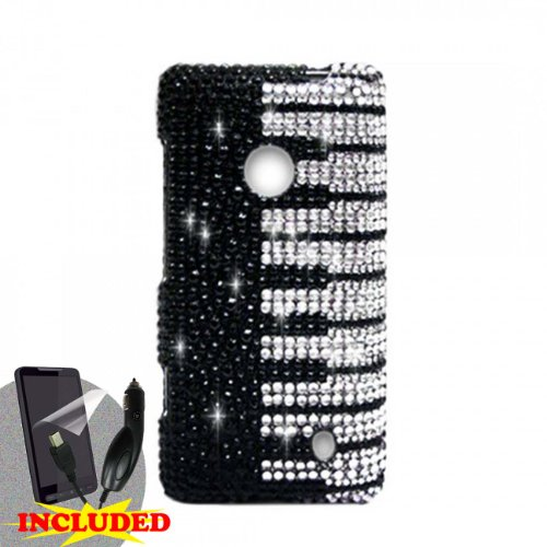 Nokia Lumia 521 (T-Mobile/Metropcs)Ê2 Piece Snap On Rhinestone/Diamond/Bling Case Cover, Silver Black Piano Keys Design + Screen Protector & Car Charger